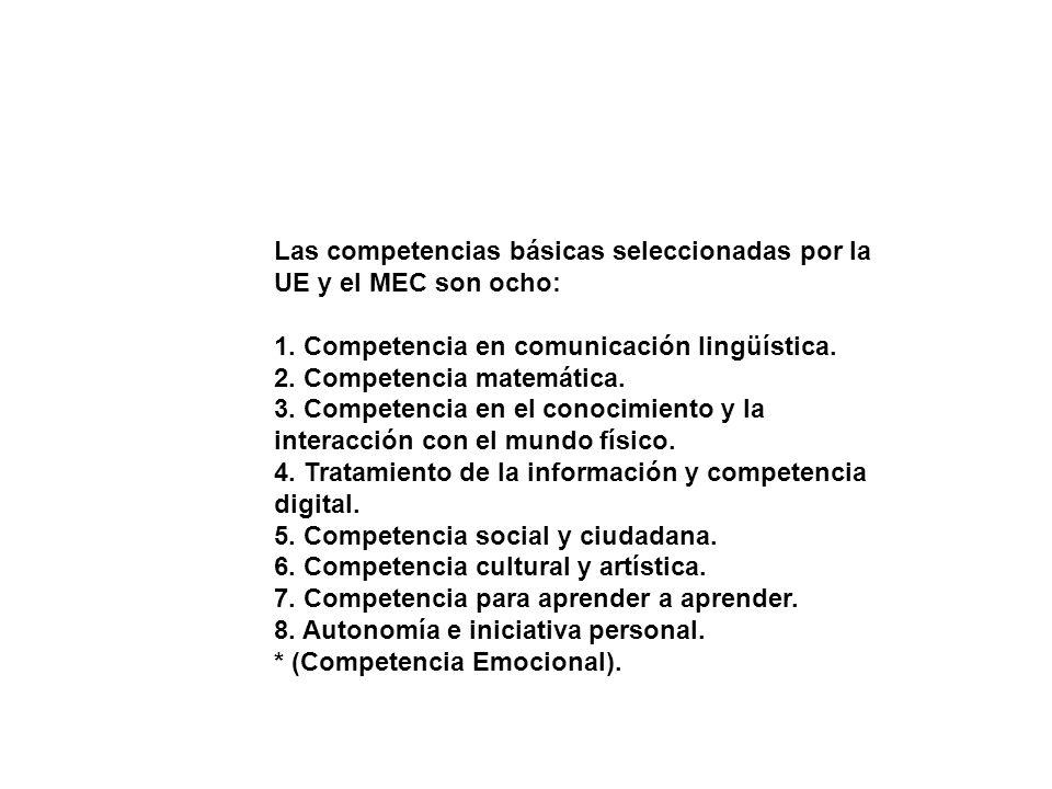 Las competencias básicas seleccionadas por la UE y el MEC son ocho: