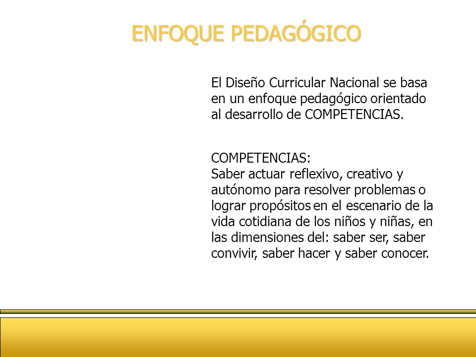 ENFOQUE PEDAGÓGICOEl Diseño Curricular Nacional se basa en un enfoque pedagógico orientado al desarrollo de COMPETENCIAS.