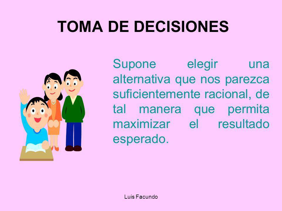 TOMA DE DECISIONES Supone elegir una alternativa que nos parezca suficientemente racional, de tal manera que permita maximizar el resultado esperado.
