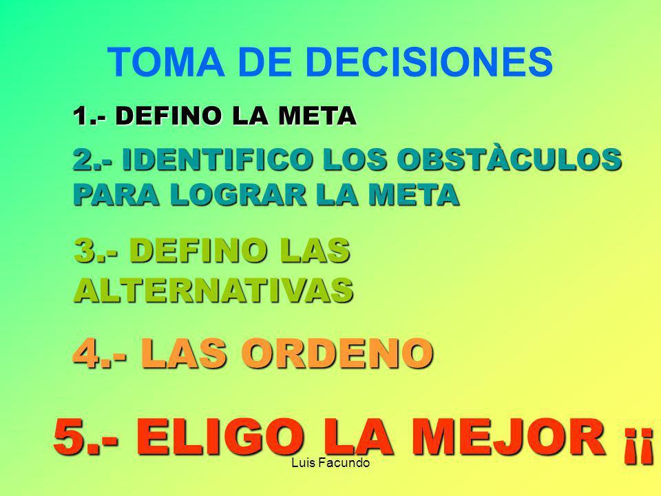 5.- ELIGO LA MEJOR ¡¡ TOMA DE DECISIONES 4.- LAS ORDENO