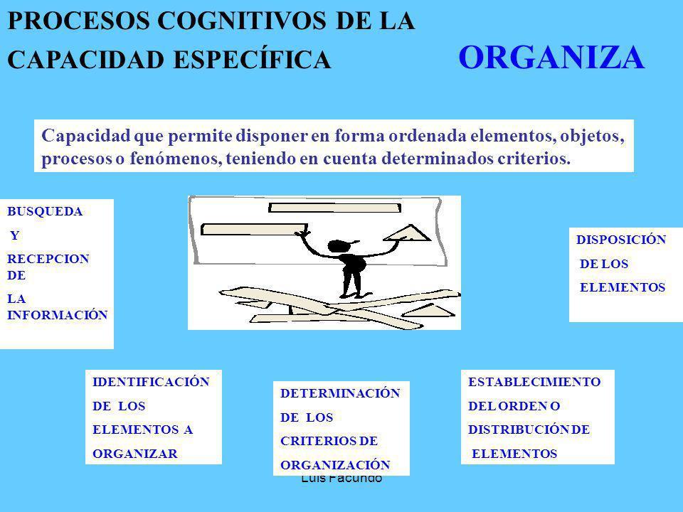 PROCESOS COGNITIVOS DE LA CAPACIDAD ESPECÍFICA ORGANIZA