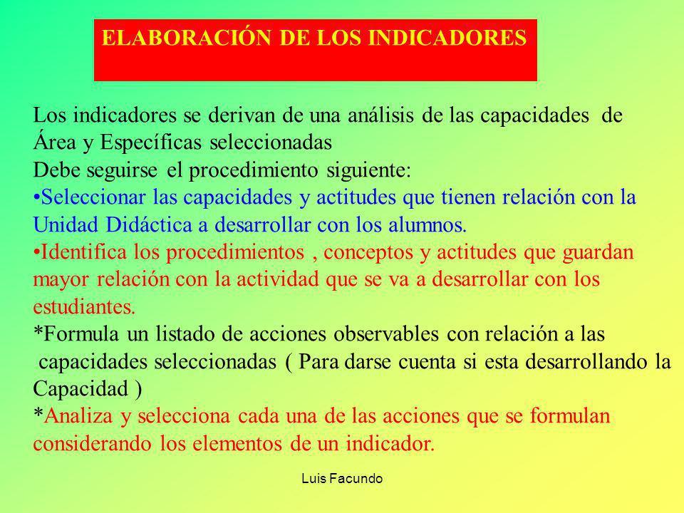 ELABORACIÓN DE LOS INDICADORES