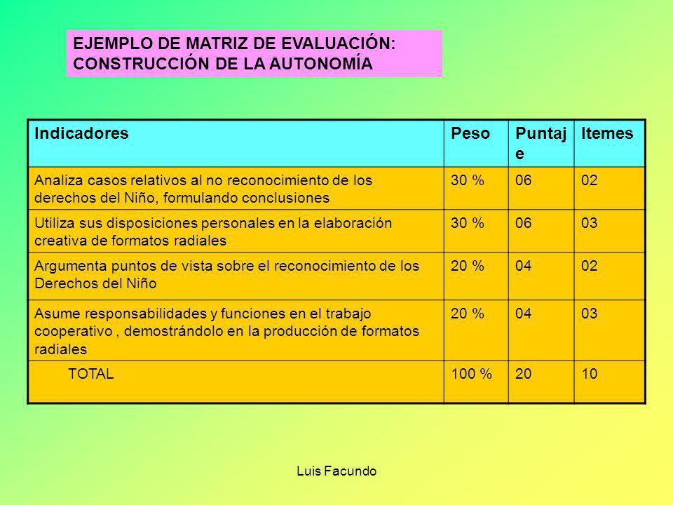 EJEMPLO DE MATRIZ DE EVALUACIÓN: CONSTRUCCIÓN DE LA AUTONOMÍA