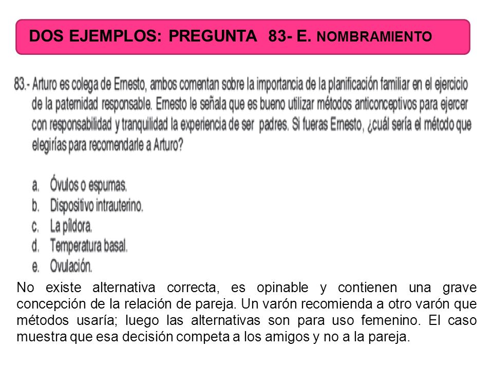 DOS EJEMPLOS: PREGUNTA 83- E. NOMBRAMIENTO