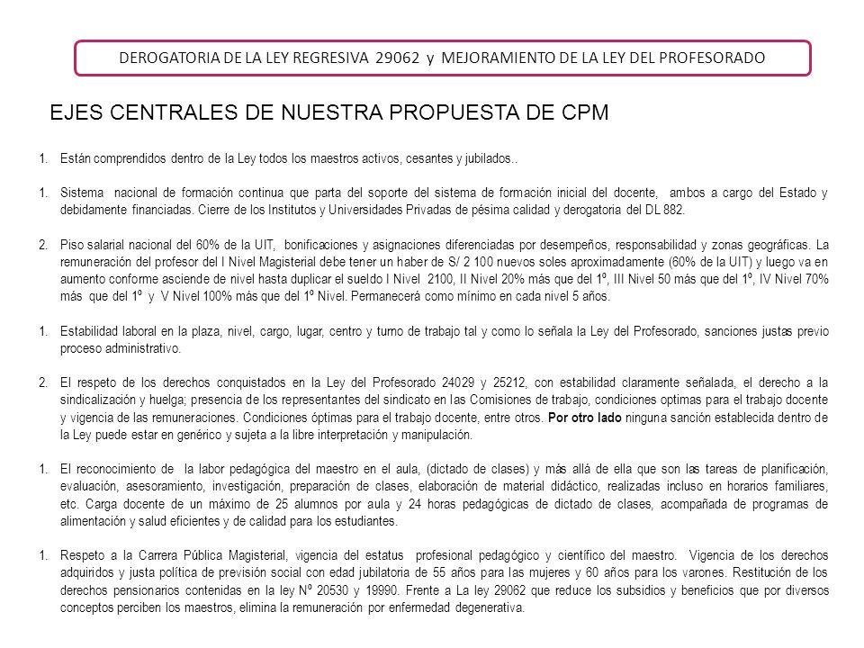 EJES CENTRALES DE NUESTRA PROPUESTA DE CPM