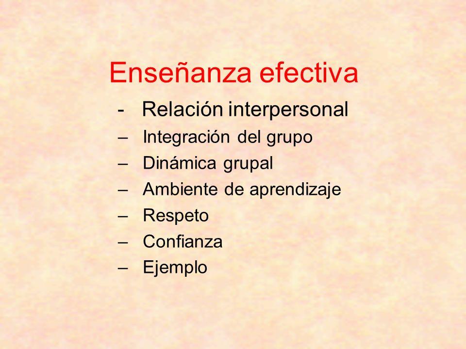 Enseñanza efectiva - Relación interpersonal Integración del grupo