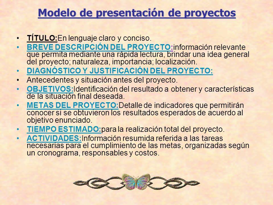 Modelo de presentación de proyectos