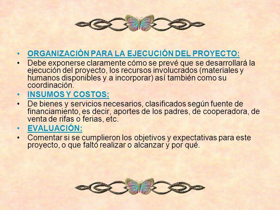 ORGANIZACIÓN PARA LA EJECUCIÓN DEL PROYECTO: