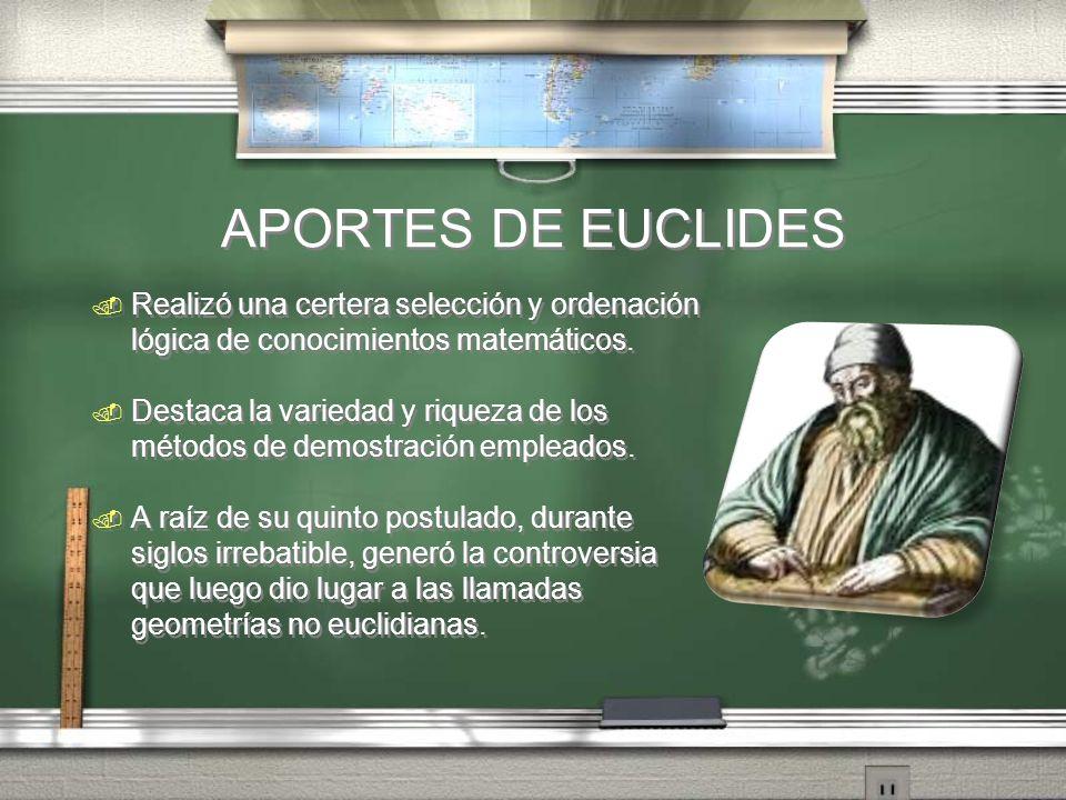 APORTES DE EUCLIDES Realizó una certera selección y ordenación lógica de conocimientos matemáticos.