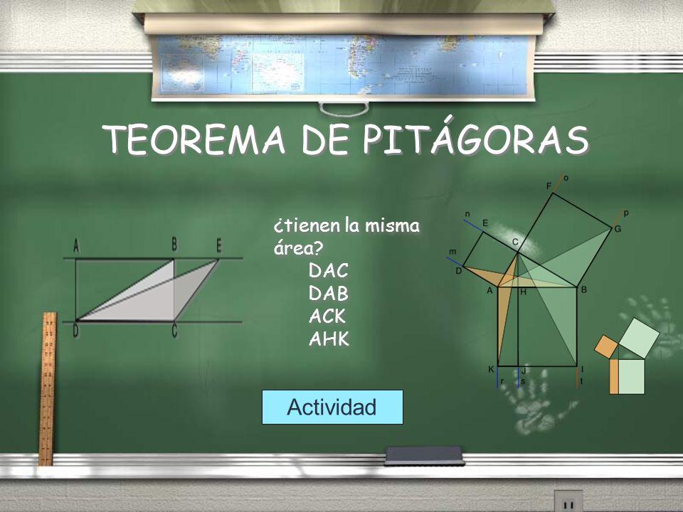 TEOREMA DE PITÁGORAS ¿tienen la misma área DAC DAB ACK AHK Actividad