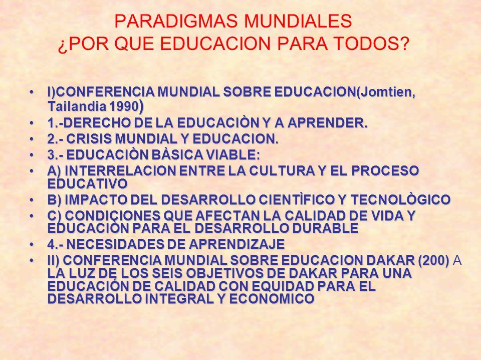 PARADIGMAS MUNDIALES ¿POR QUE EDUCACION PARA TODOS