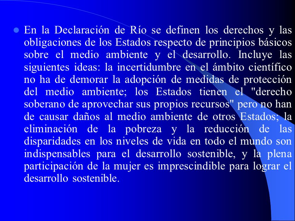 En la Declaración de Río se definen los derechos y las obligaciones de los Estados respecto de principios básicos sobre el medio ambiente y el desarrollo.