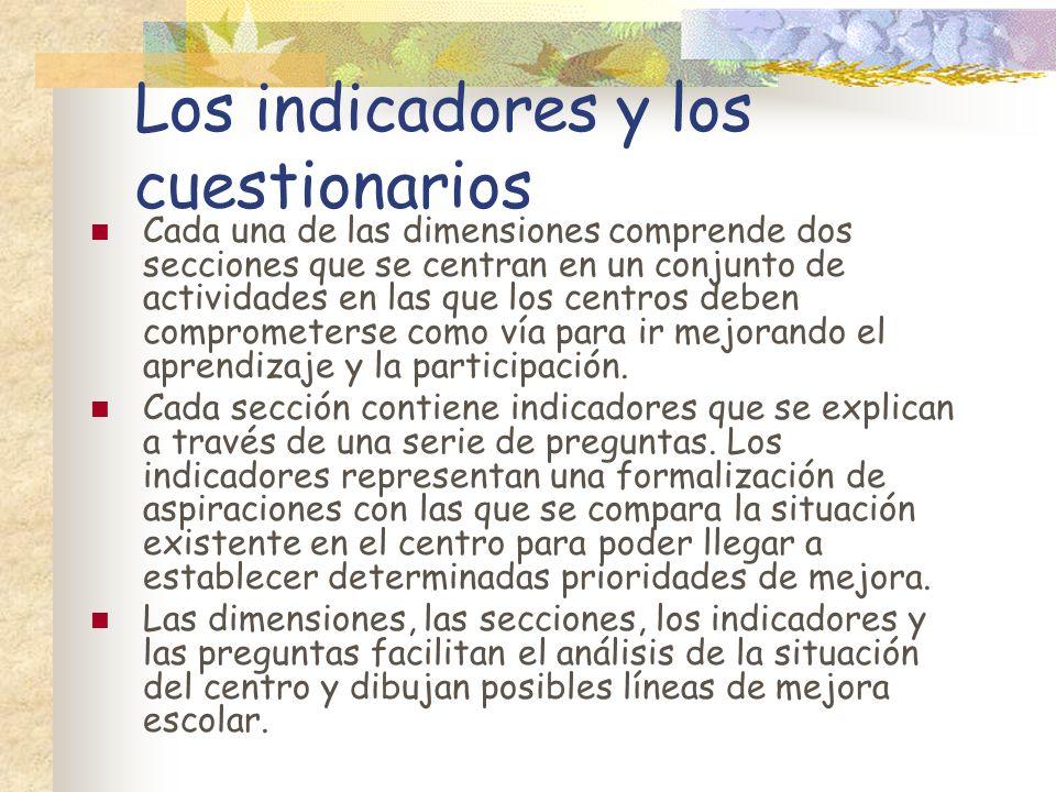 Los indicadores y los cuestionarios
