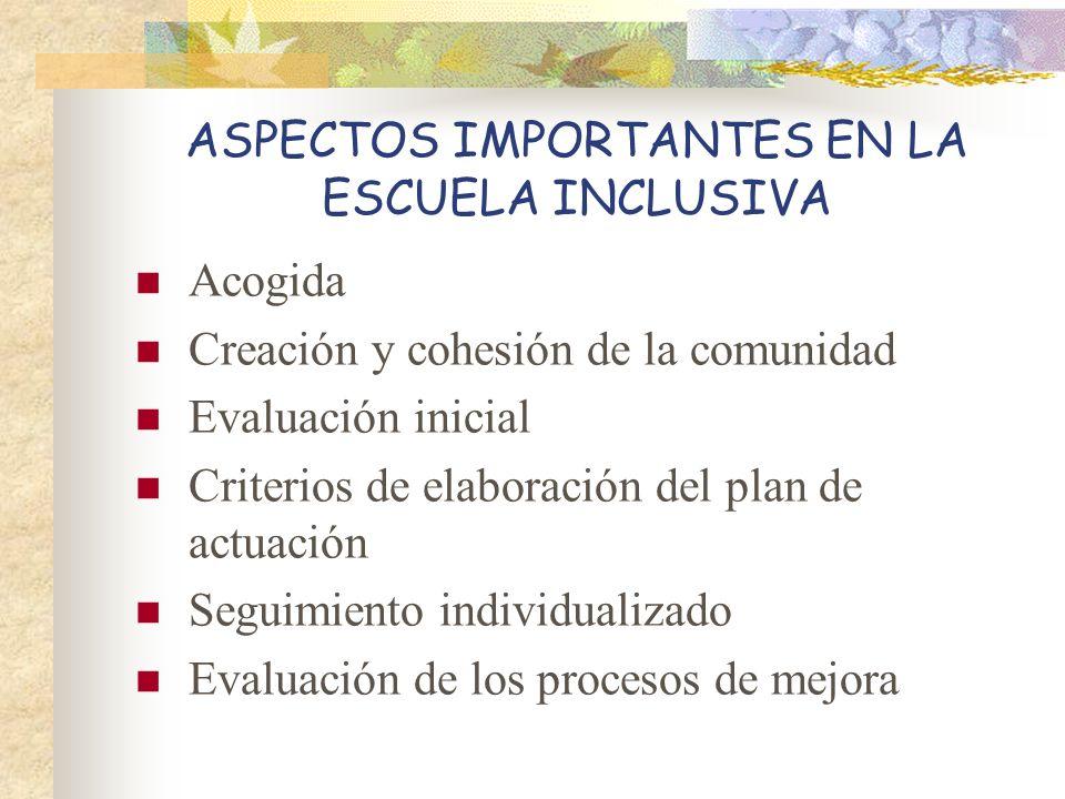 ASPECTOS IMPORTANTES EN LA ESCUELA INCLUSIVA