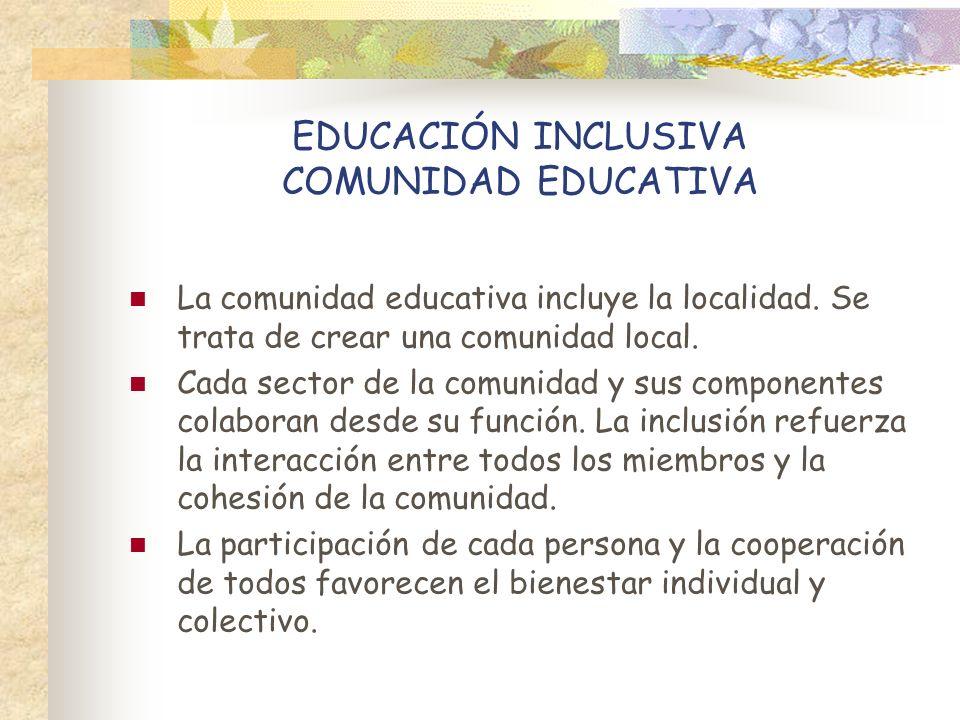 EDUCACIÓN INCLUSIVA COMUNIDAD EDUCATIVA