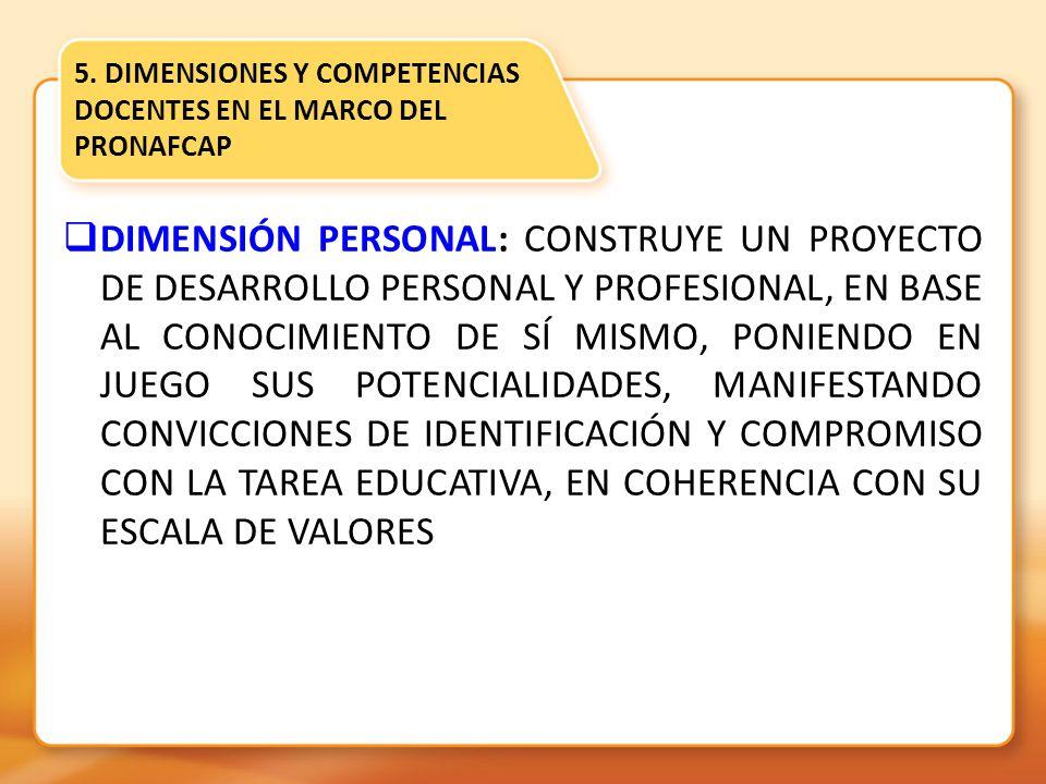 5. DIMENSIONES Y COMPETENCIAS DOCENTES EN EL MARCO DEL PRONAFCAP