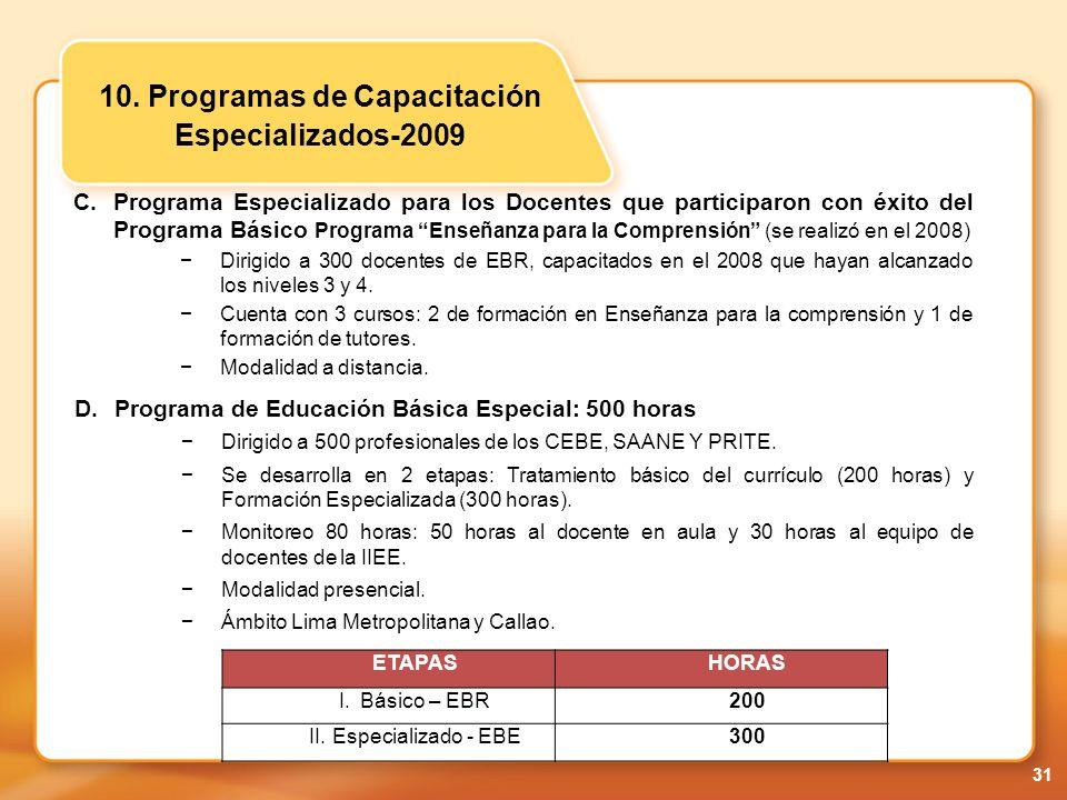 10. Programas de Capacitación Especializados-2009