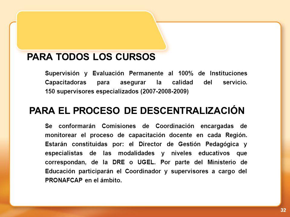 PARA EL PROCESO DE DESCENTRALIZACIÓN