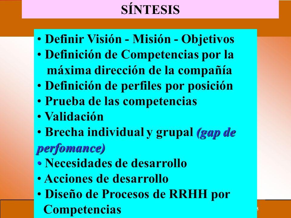 SÍNTESIS Definir Visión - Misión - Objetivos. Definición de Competencias por la. máxima dirección de la compañía.