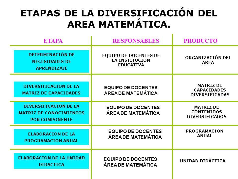 ETAPAS DE LA DIVERSIFICACIÓN DEL AREA MATEMÁTICA.