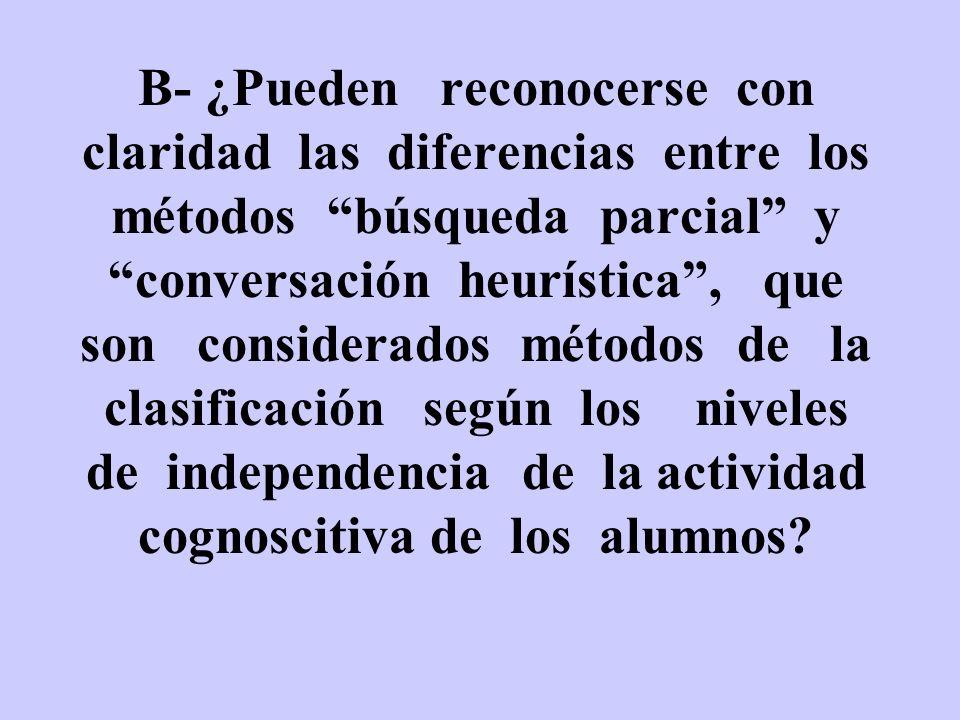 B- ¿Pueden reconocerse con claridad las diferencias entre los métodos búsqueda parcial y conversación heurística , que son considerados métodos de la clasificación según los niveles de independencia de la actividad cognoscitiva de los alumnos