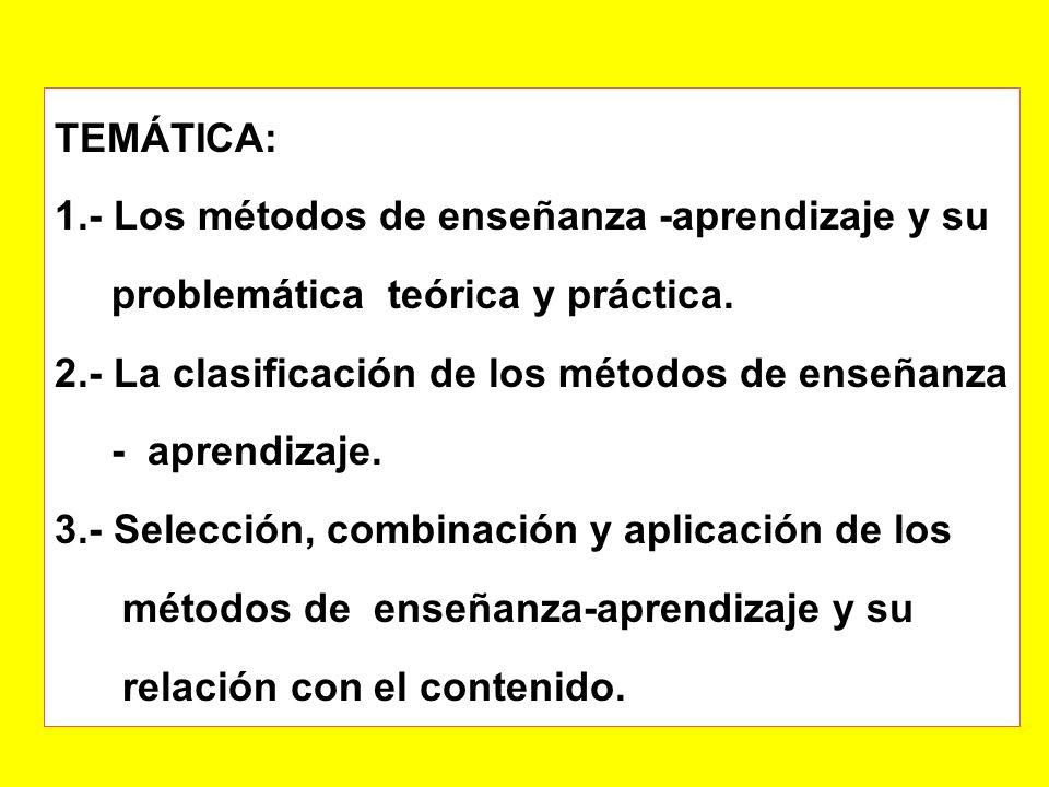TEMÁTICA: 1.- Los métodos de enseñanza -aprendizaje y su. problemática teórica y práctica. 2.- La clasificación de los métodos de enseñanza.