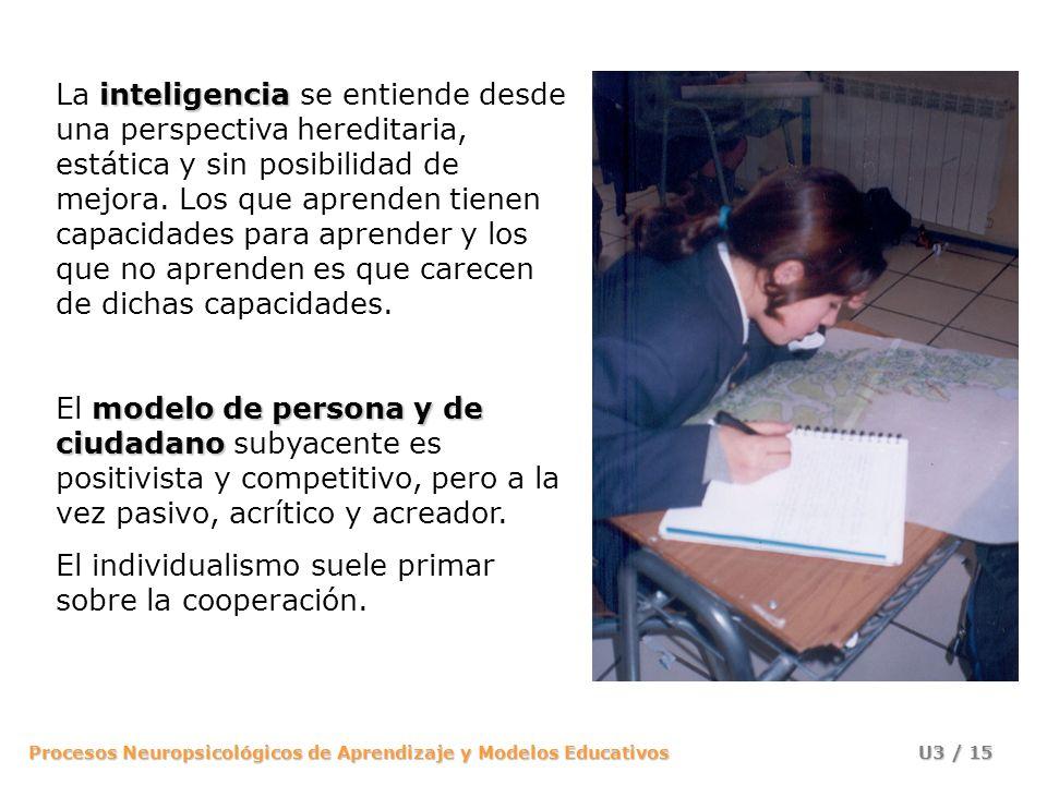La inteligencia se entiende desde una perspectiva hereditaria, estática y sin posibilidad de mejora. Los que aprenden tienen capacidades para aprender y los que no aprenden es que carecen de dichas capacidades.