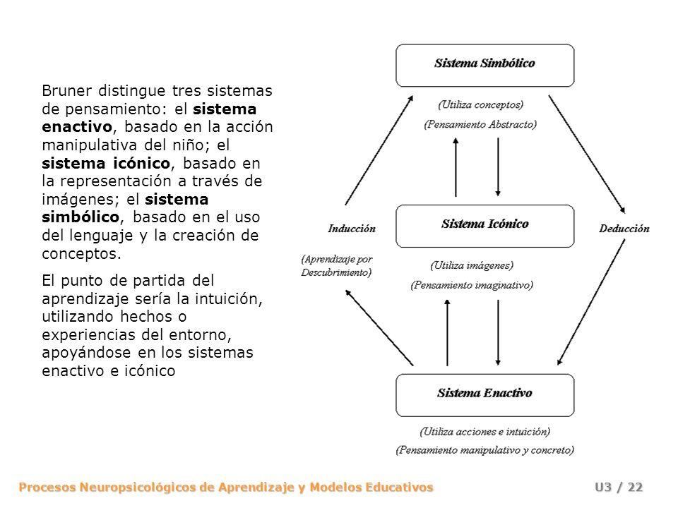 Bruner distingue tres sistemas de pensamiento: el sistema enactivo, basado en la acción manipulativa del niño; el sistema icónico, basado en la representación a través de imágenes; el sistema simbólico, basado en el uso del lenguaje y la creación de conceptos.
