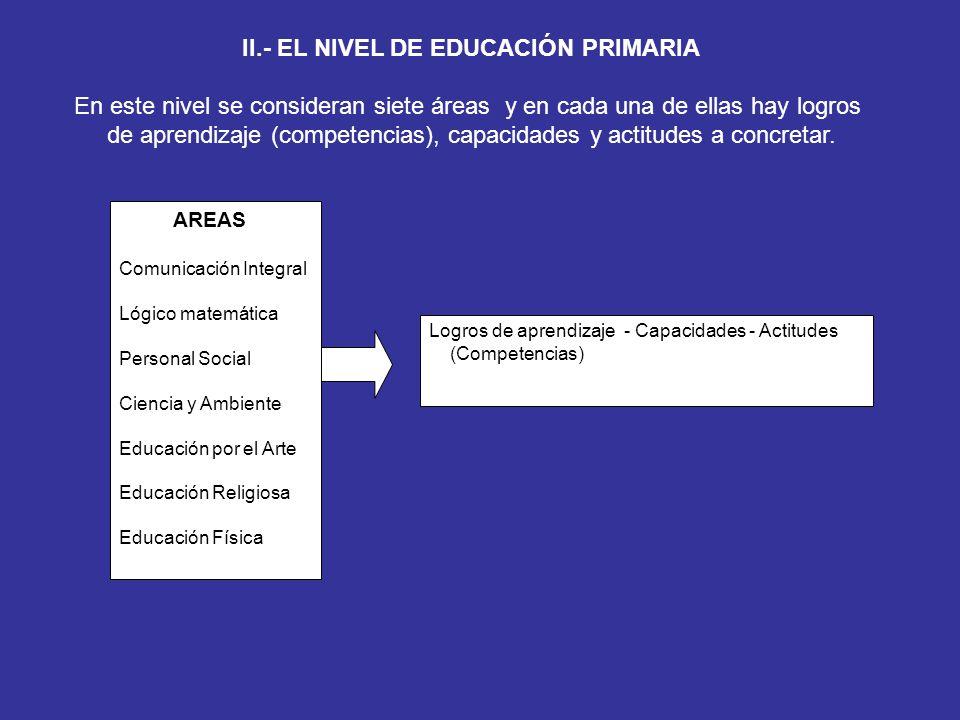 II.- EL NIVEL DE EDUCACIÓN PRIMARIA