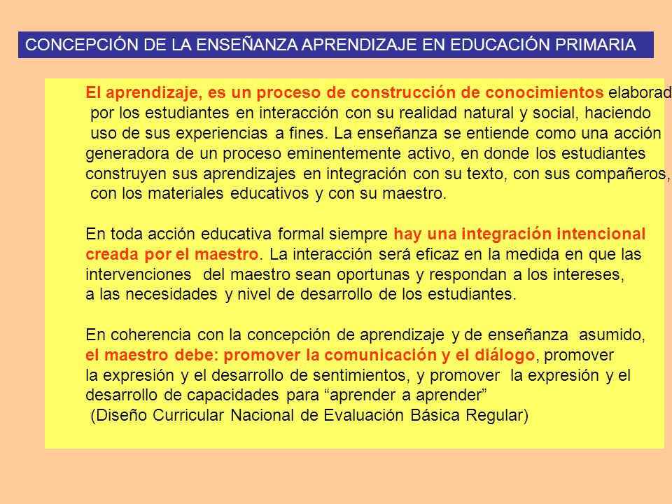 CONCEPCIÓN DE LA ENSEÑANZA APRENDIZAJE EN EDUCACIÓN PRIMARIA