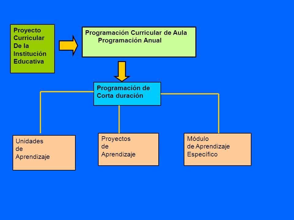 Proyecto Curricular De la. Institución Educativa. Programación Curricular de Aula. Programación Anual.