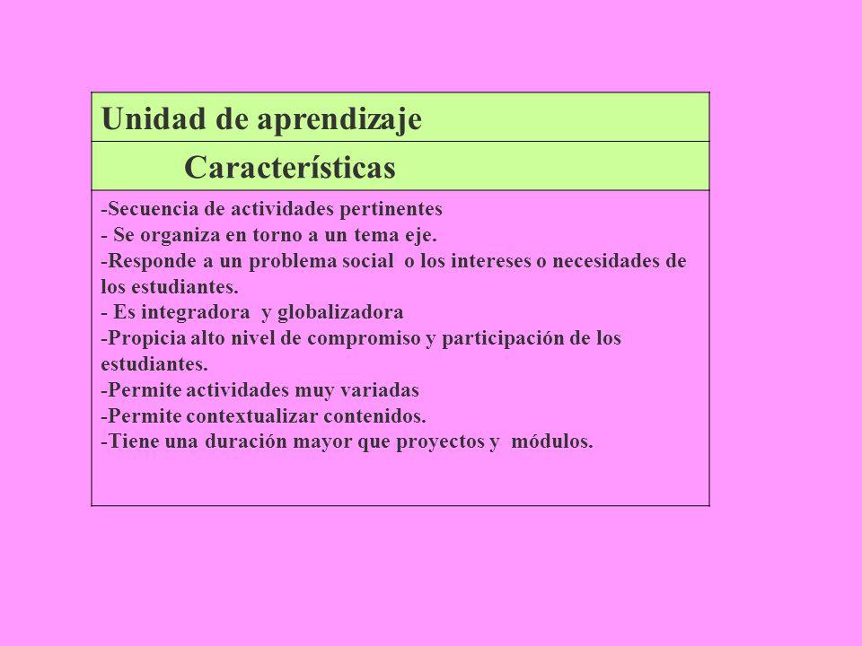 Unidad de aprendizaje Características