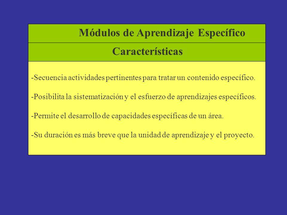 Módulos de Aprendizaje Específico Características
