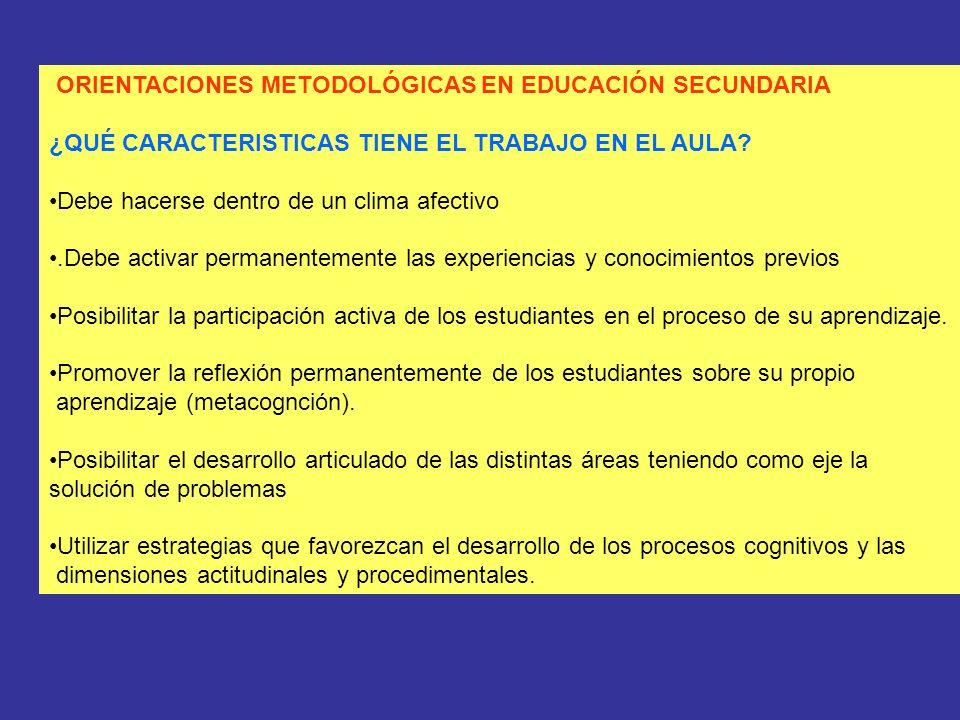 ORIENTACIONES METODOLÓGICAS EN EDUCACIÓN SECUNDARIA