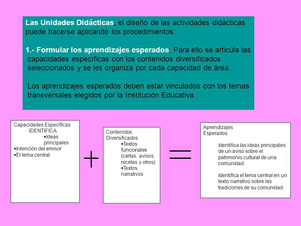 Las Unidades Didácticas, el diseño de las actividades didácticas