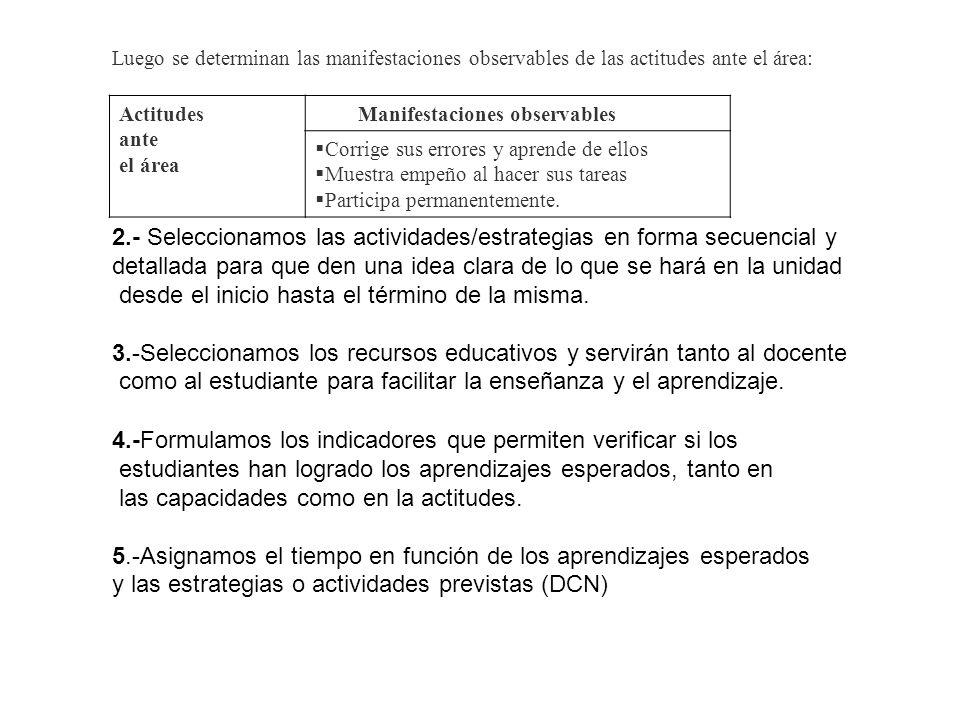 2.- Seleccionamos las actividades/estrategias en forma secuencial y