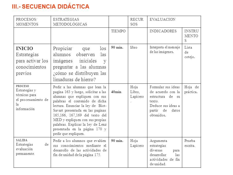 III.- SECUENCIA DIDÁCTICA