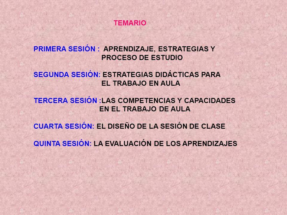 TEMARIOPRIMERA SESIÓN : APRENDIZAJE, ESTRATEGIAS Y. PROCESO DE ESTUDIO. SEGUNDA SESIÓN: ESTRATEGIAS DIDÁCTICAS PARA.