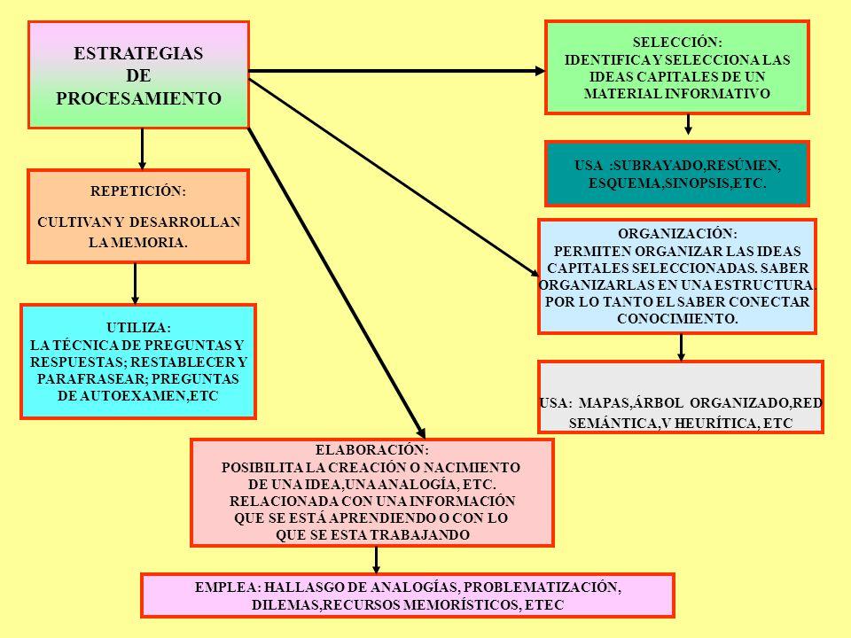 ESTRATEGIAS DE PROCESAMIENTO