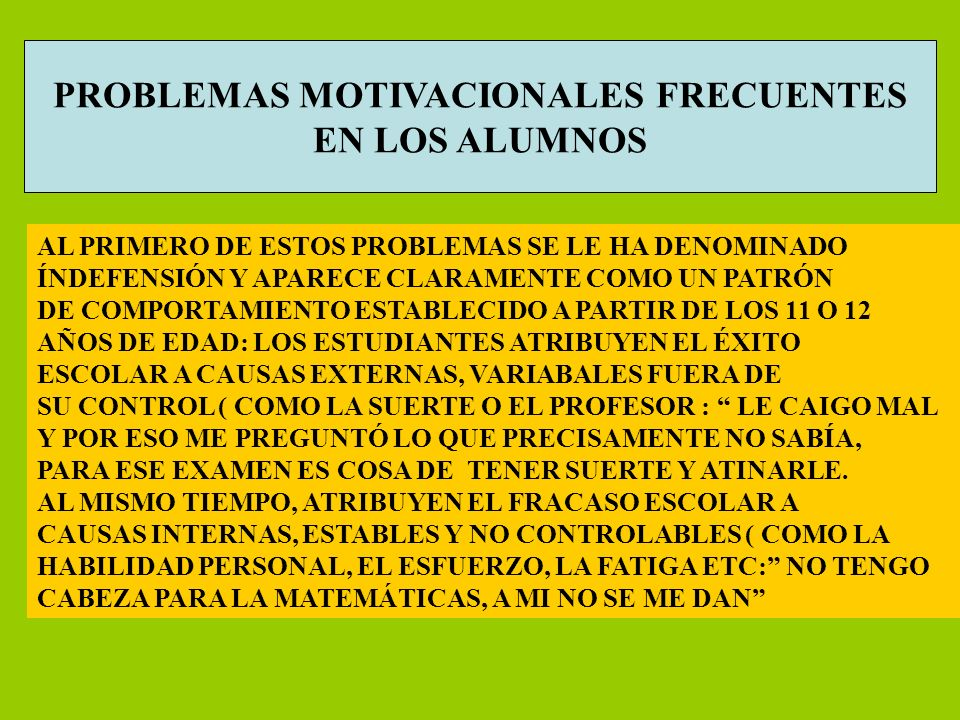PROBLEMAS MOTIVACIONALES FRECUENTES