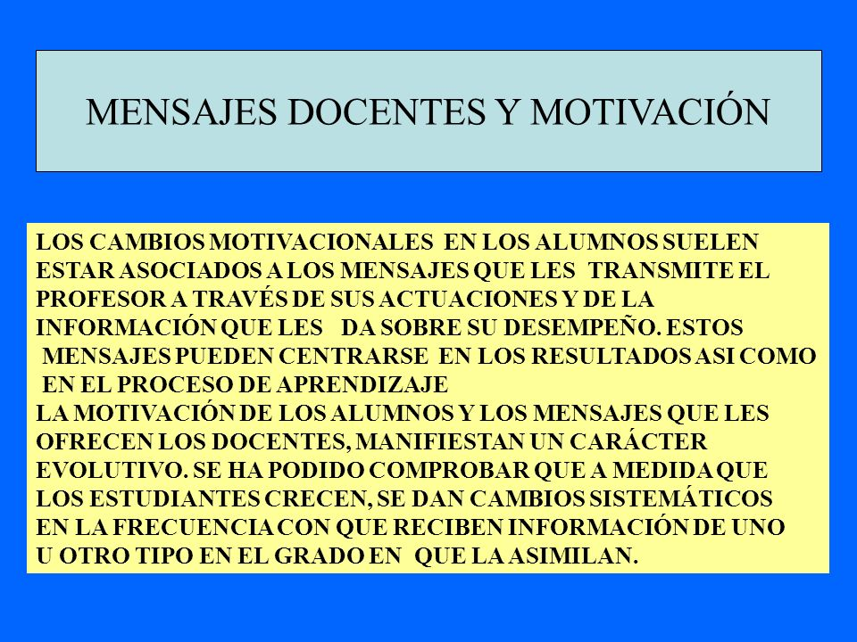 MENSAJES DOCENTES Y MOTIVACIÓN
