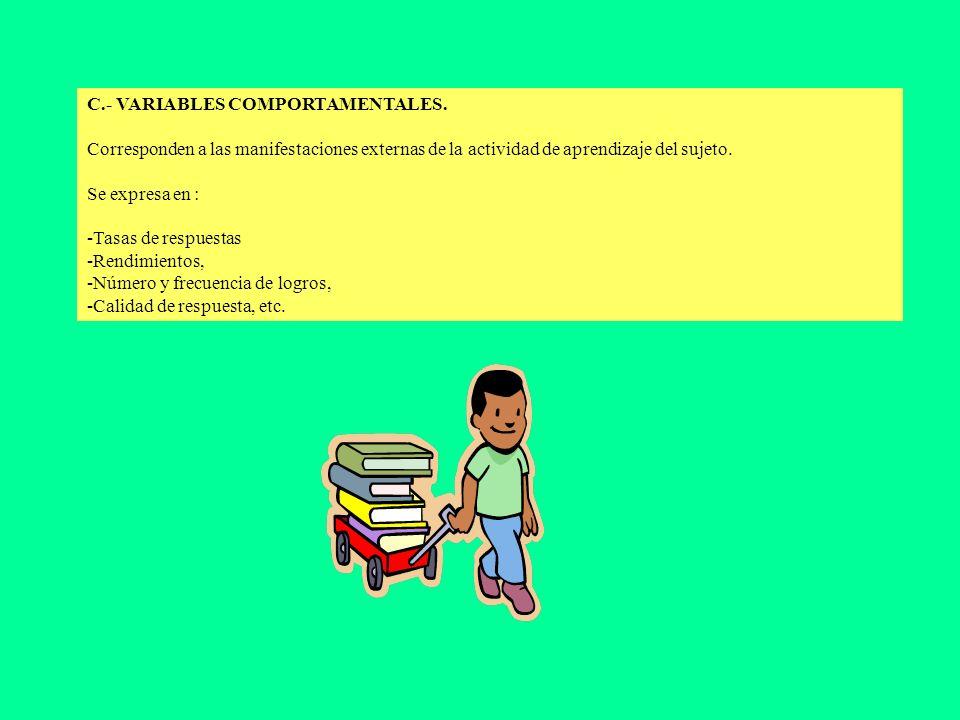 C.- VARIABLES COMPORTAMENTALES.