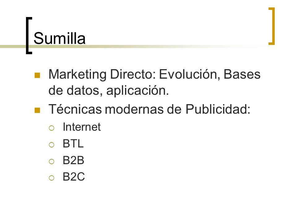 Sumilla Marketing Directo: Evolución, Bases de datos, aplicación.