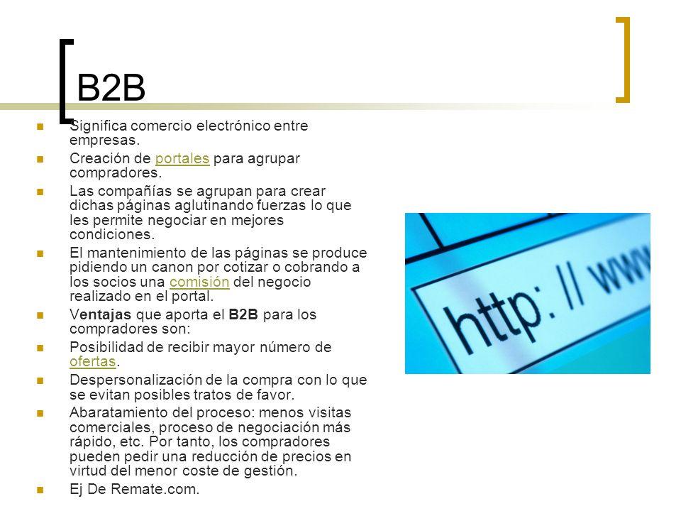 B2B Significa comercio electrónico entre empresas.