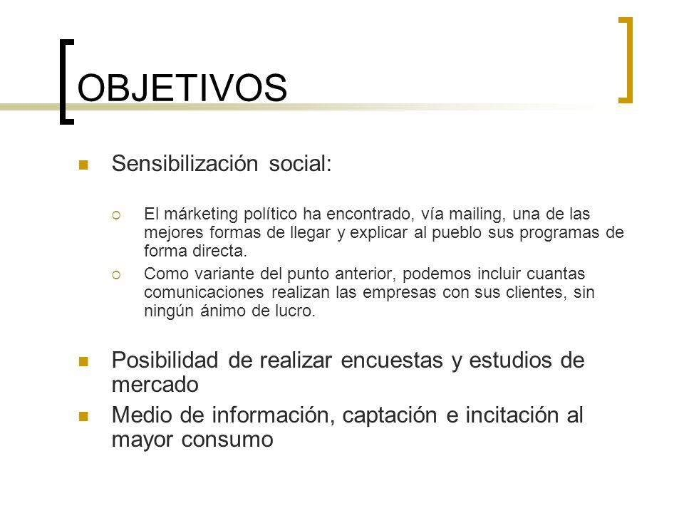 OBJETIVOS Sensibilización social: