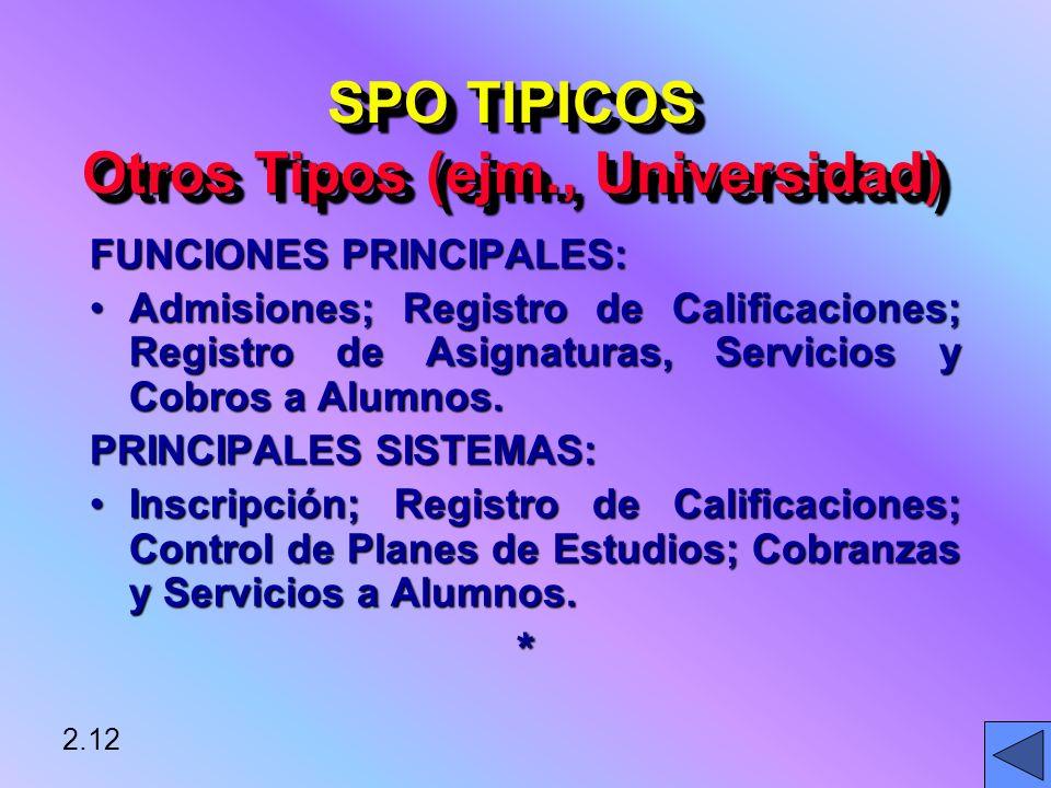 SPO TIPICOS Otros Tipos (ejm., Universidad)
