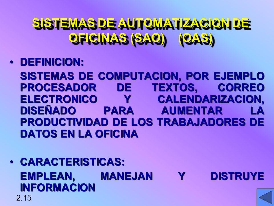 SISTEMAS DE AUTOMATIZACION DE OFICINAS (SAO) (OAS)