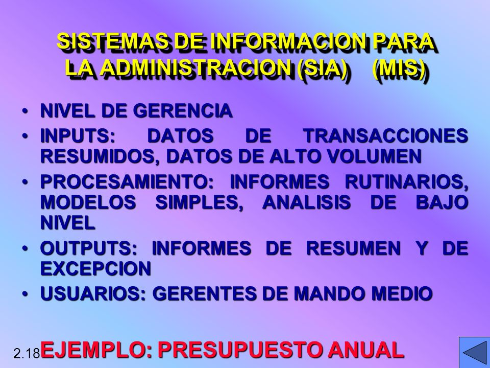 SISTEMAS DE INFORMACION PARA LA ADMINISTRACION (SIA) (MIS)