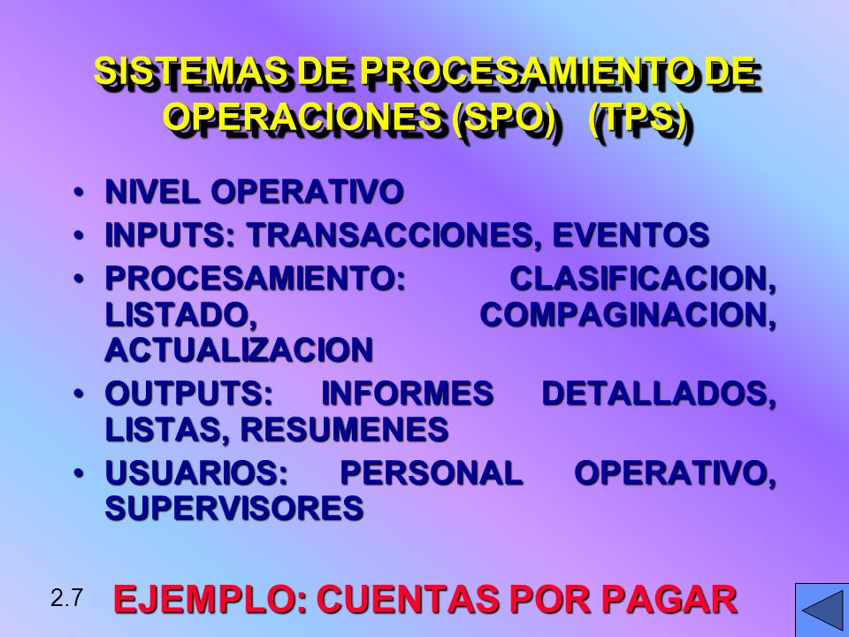 SISTEMAS DE PROCESAMIENTO DE OPERACIONES (SPO) (TPS)