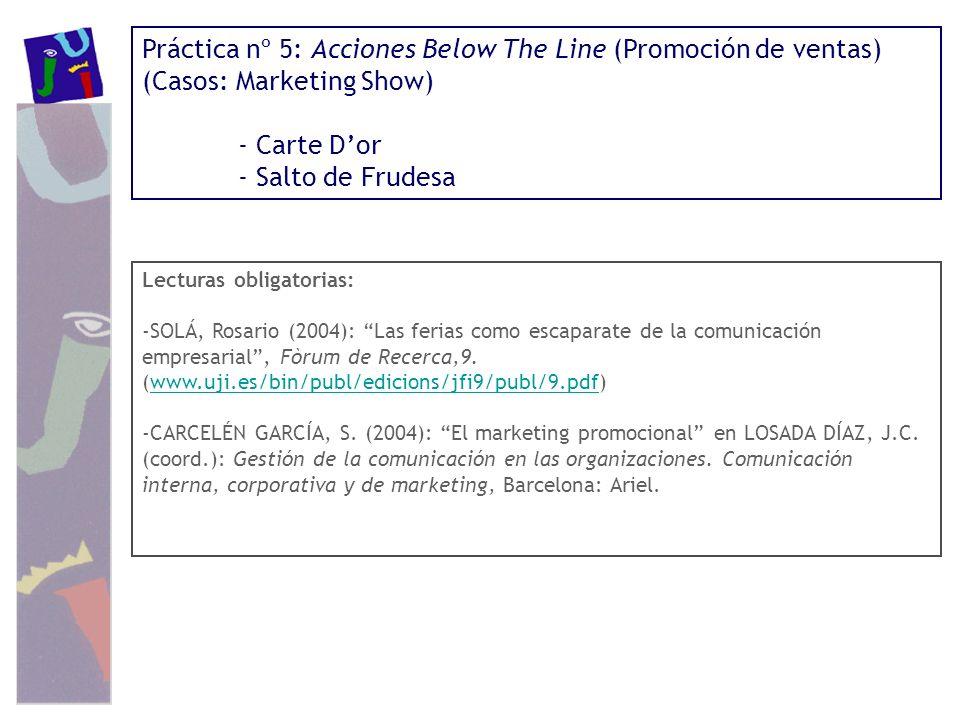 Práctica nº 5: Acciones Below The Line (Promoción de ventas)
